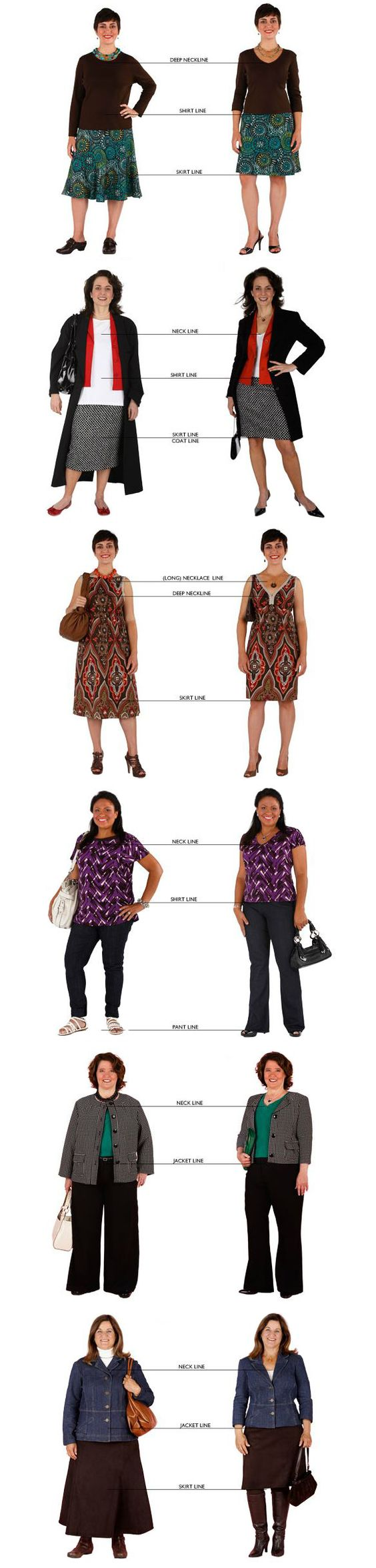 Image of women styling to suit their proportions